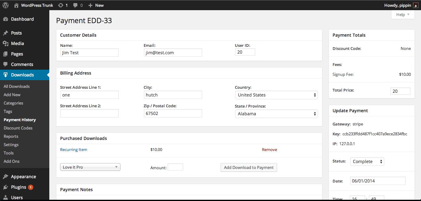 Easy digital downloads detalle de comprador