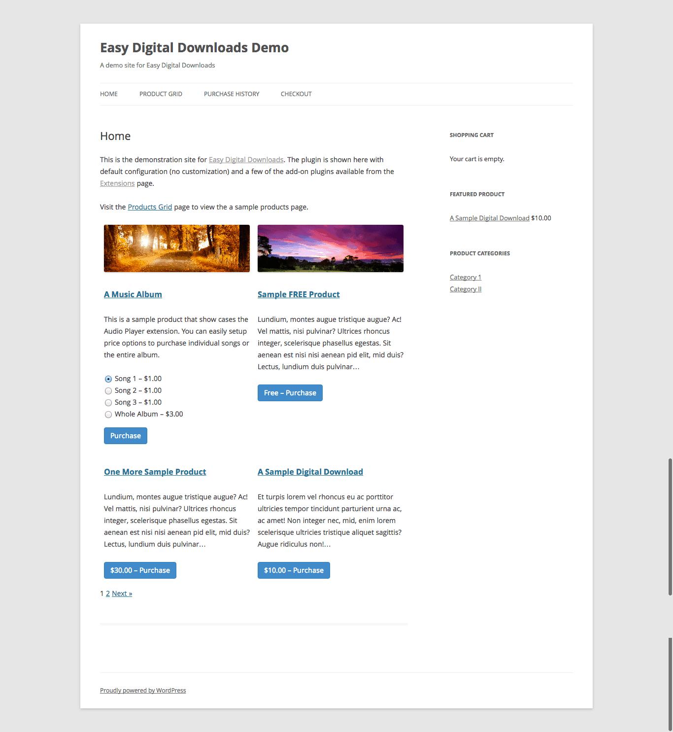 Easy digital downloads ejemplo de pagina de venta