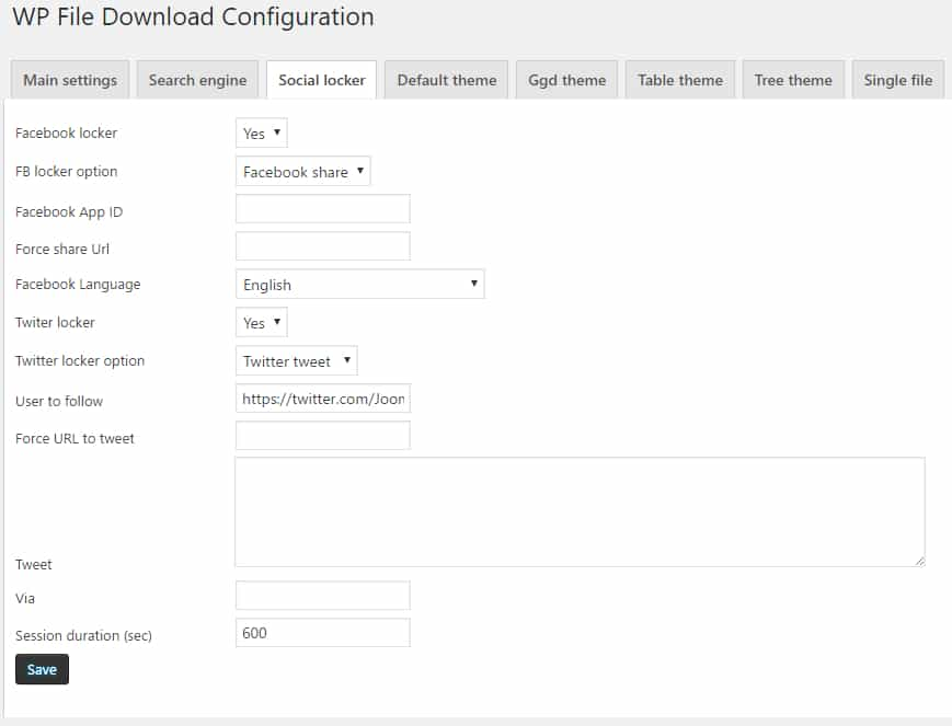 Wp file download joomunited 7 configuracion social