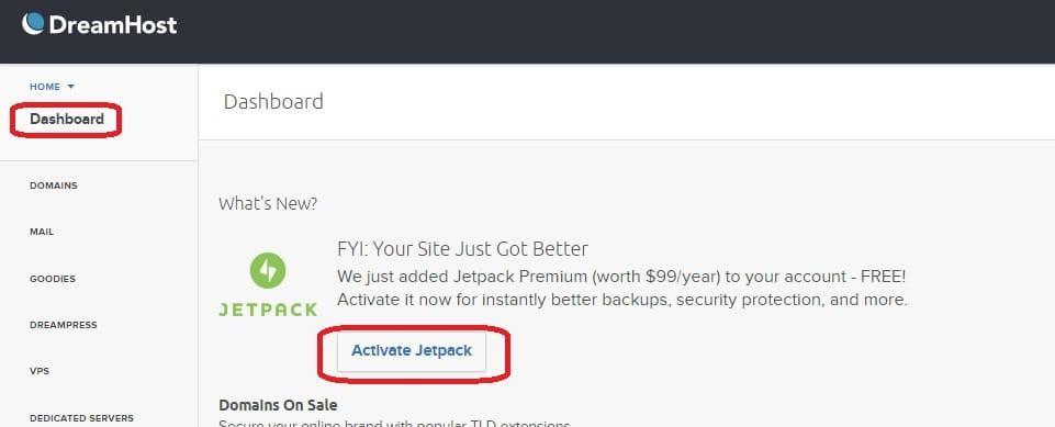 Dreamhost dashboard activate free jetpack premium