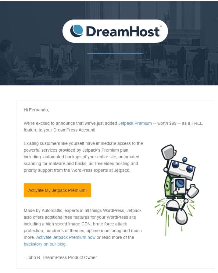 Dreampress free jetpack premium email