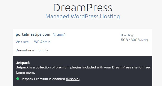 Dreampress free jetpack premium enabled