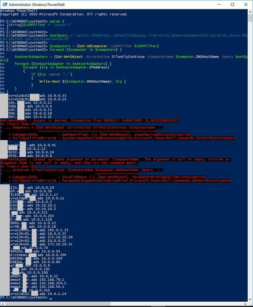 Powershell obtener computadoras con ip estatica