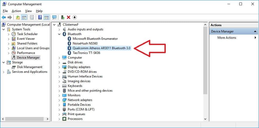 Instalar manualmente controlador Qualcomm Atheros AR3011 Bluetooth 3.0 - Dispositivo instalado