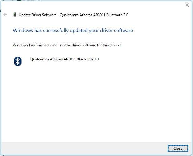 Instalar manualmente controlador Qualcomm Atheros AR3011 Bluetooth 3.0 - Instalación exitosa