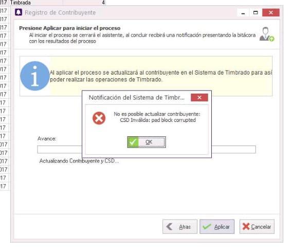 Tress - Error No es posible actualizar contribuyente: CSD Invalida: pad block corrupted
