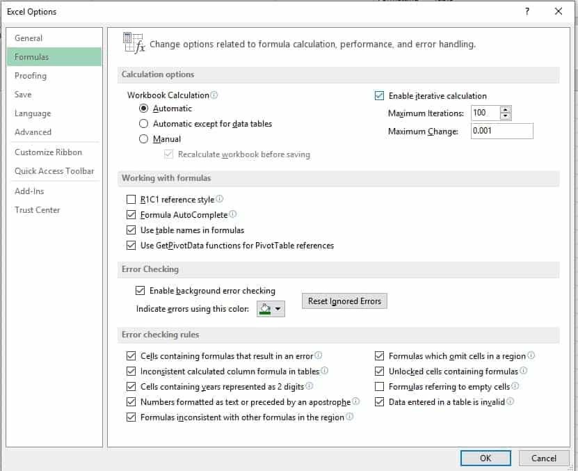 Excel habilitar calculo iterativo para permitir referencias circulares