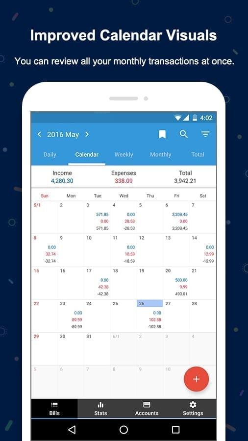 Money Manager - Visualización de calendario