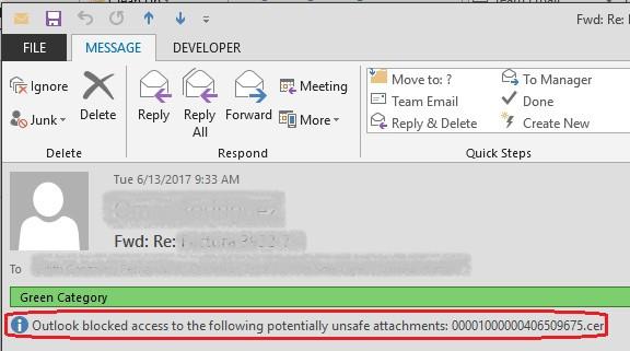 Outlook bloqueó el acceso a los siguientes datos adjuntos potencialmente inseguros: