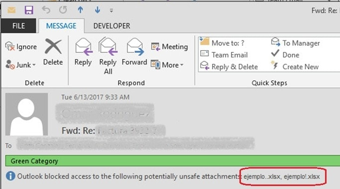 Outlook bloqueó el acceso a los siguientes datos adjuntos potencialmente inseguros - Ejemplos