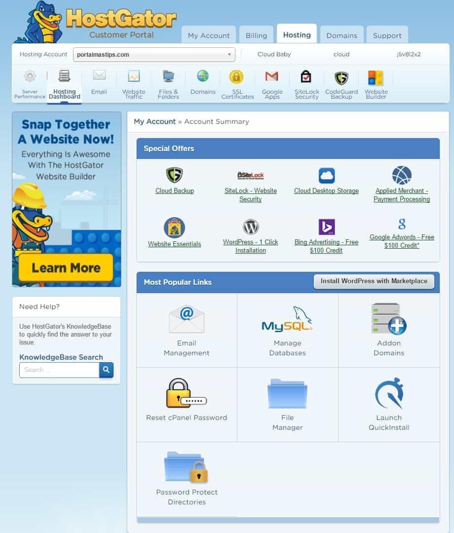 Reseña Hostgator Cloud Hosting y Muestra del cPanel 10