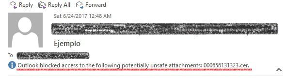 Outlook ejemplo archivo adjunto bloqueado