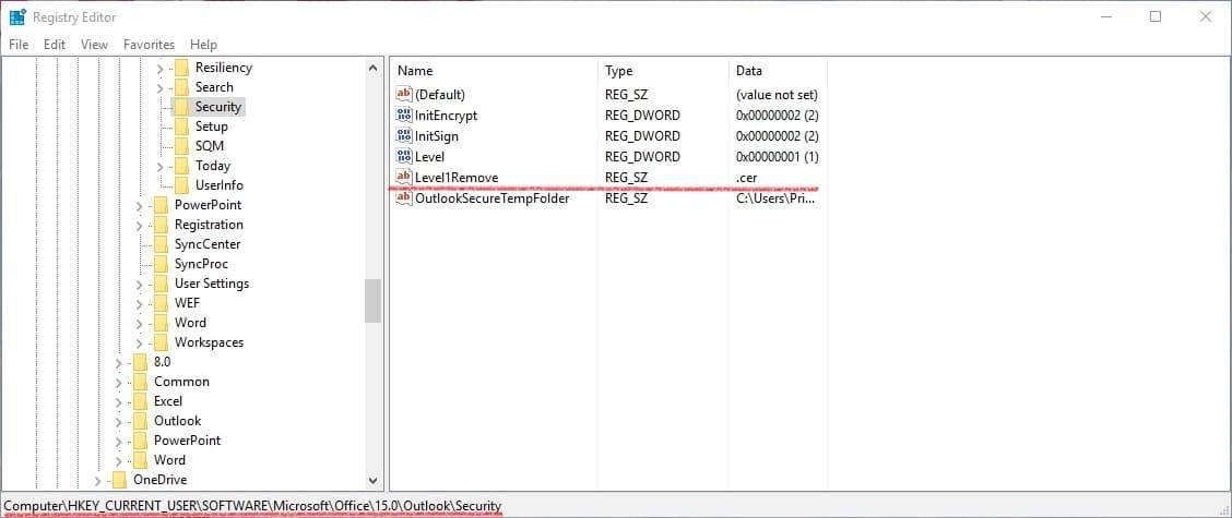 Ventana de registro ejemplo evitar que outlook bloquee archivos adjuntos inseguros