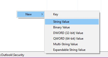 Crear registro para Outlook Cadena o String Value