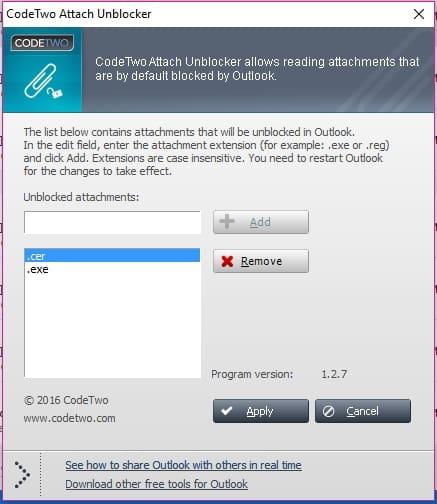 Desbloquear archivo adjunto con CodeTwo Attach Unbloker