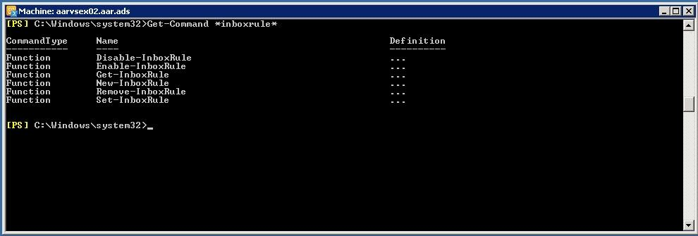 PowerShell - Verreglas configuradas en buzón de correo - Get-Command