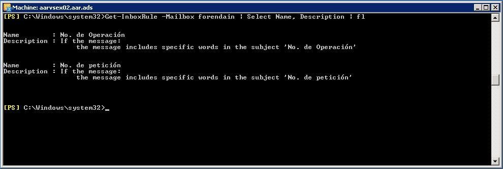 PowerShell - Verreglas configuradas en buzón de correo - Get-InboxRule Descripcion