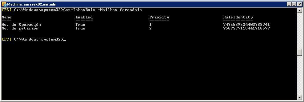 PowerShell - Verreglas configuradas en buzón de correo - Get-InboxRule