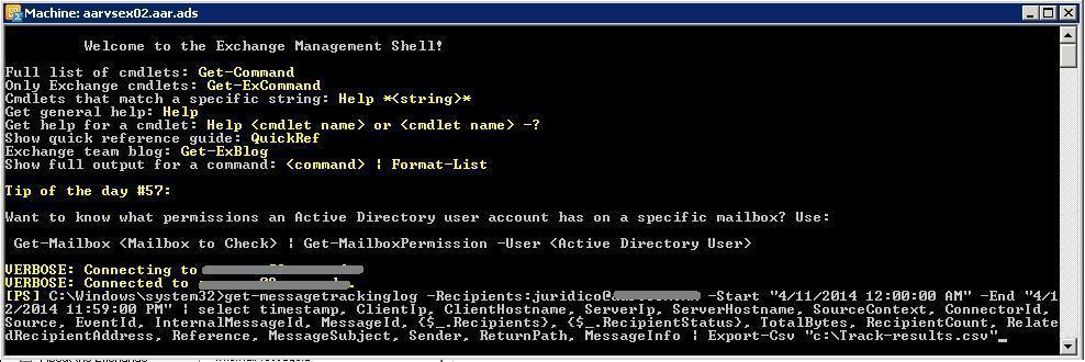Seguimiento de mensajes en Exchange - Consola Shell
