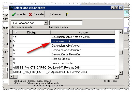 3 Actualizar Certificado Vencido En AdminPAQ Seleccion De Concepto