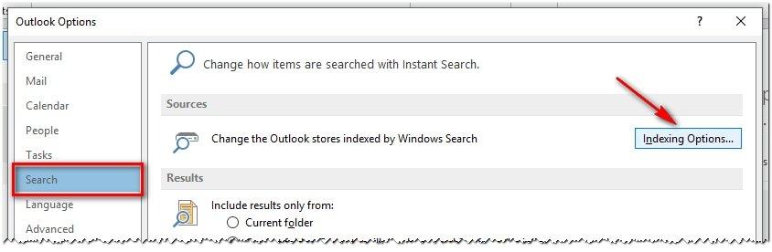 4 Outlook 2013 Opciones De Busqueda Indexacion