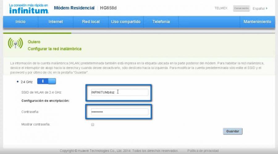 Cambiar La Contraseña Del WiFi En Un Modem HG658 Configuracion