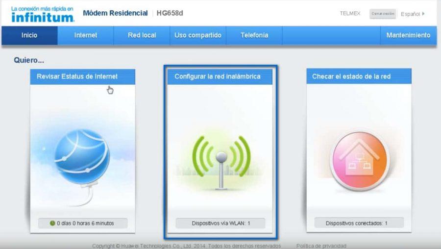 Cambiar La Contraseña Del WiFi En Un Modem HG658 Inicio