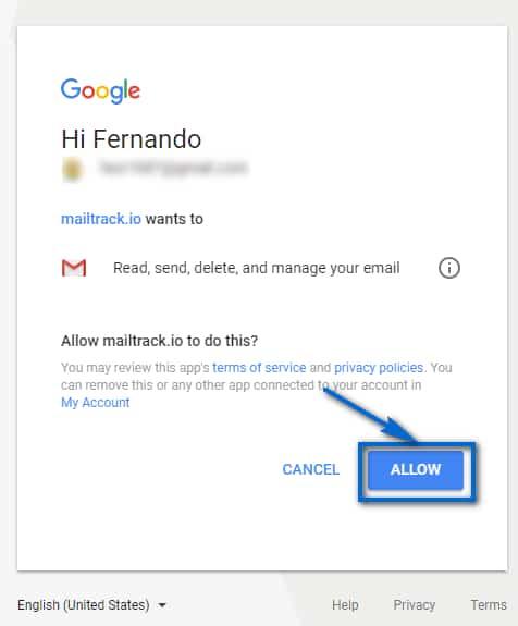 Seguimiento De Correos En Gmail Dar Permisos A La Aplicacion De Mailtrack
