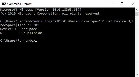comando WMIC para obtener espacio libre en disco