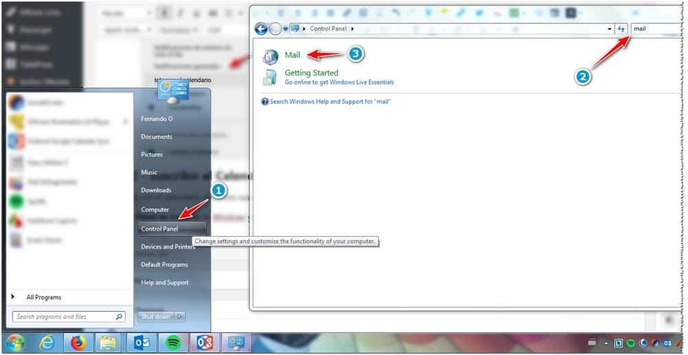 Configuracion de calendario en Outlook - Panel de Control - Correo