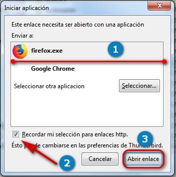 Cambiar el navegador predeterminado en Thunderbird 7
