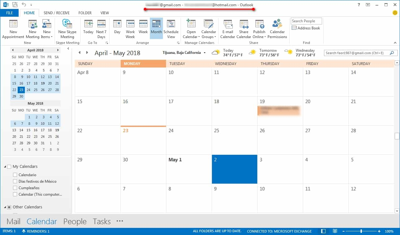 Calendario de Google importado a Outlook