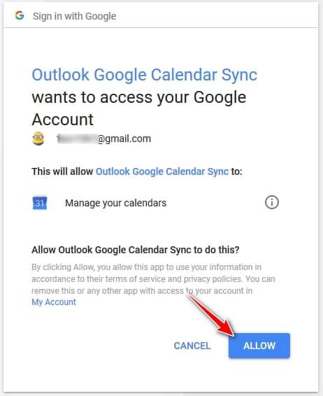 Permitir el acceso a OutlookGoogleCalendarSync para administrar el calendario