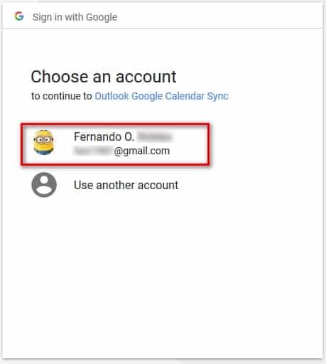 Seleccionar la cuenta para el acceso con OutlookGoogleCalendarSync