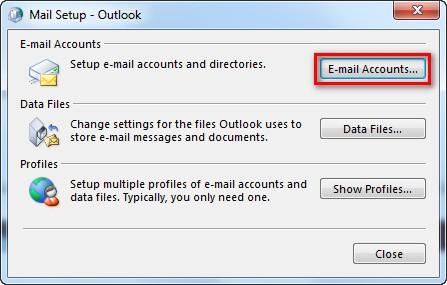 Ventana de configuracion de Outlook
