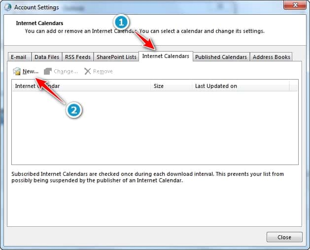 Ventana de configuracion de cuentas - Calendario Internet