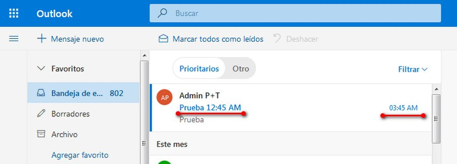 zona horaria en la versión beta de Outlook - diferencia de hora