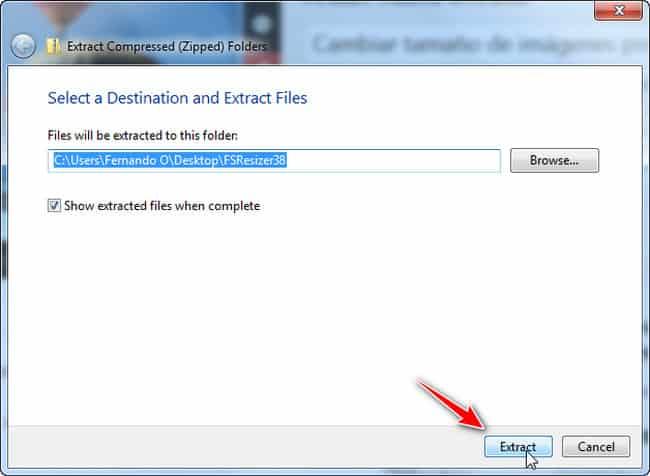 Seleccionar ruta para extraer FastStone Photo Resizer
