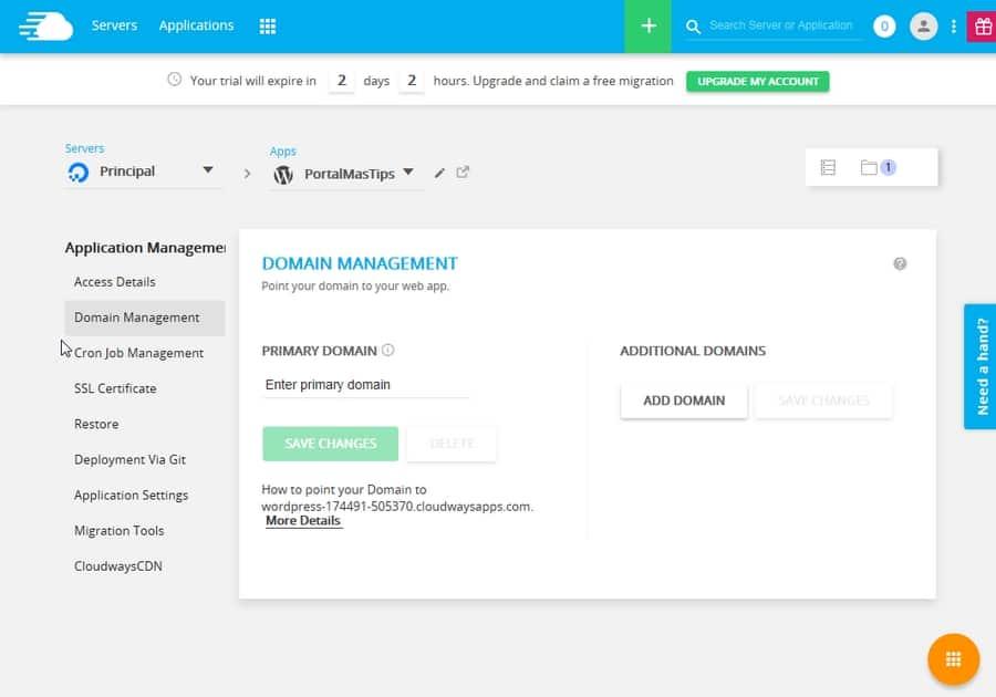 Administracion de aplicacion en Cloudways - Dominio