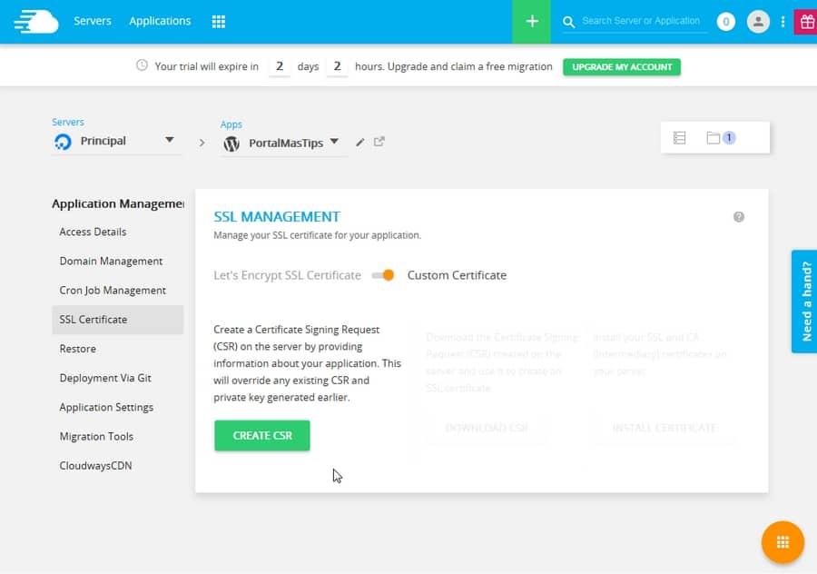 Administracion de aplicacion en Cloudways - SSL personal