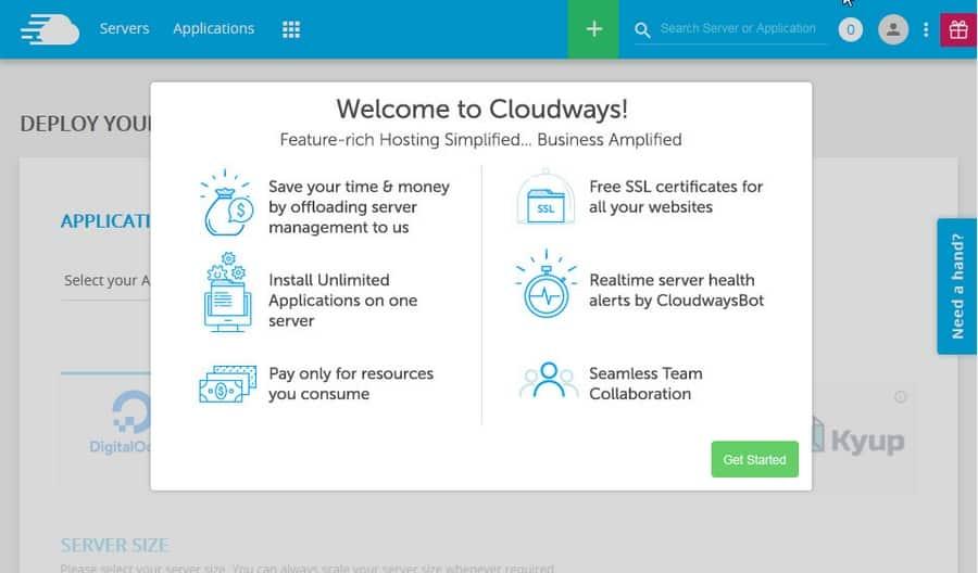 Bienvenida a plataforma de Cloudways
