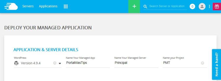 Configurar servidor en Cloudways - Informacion de aplicacion