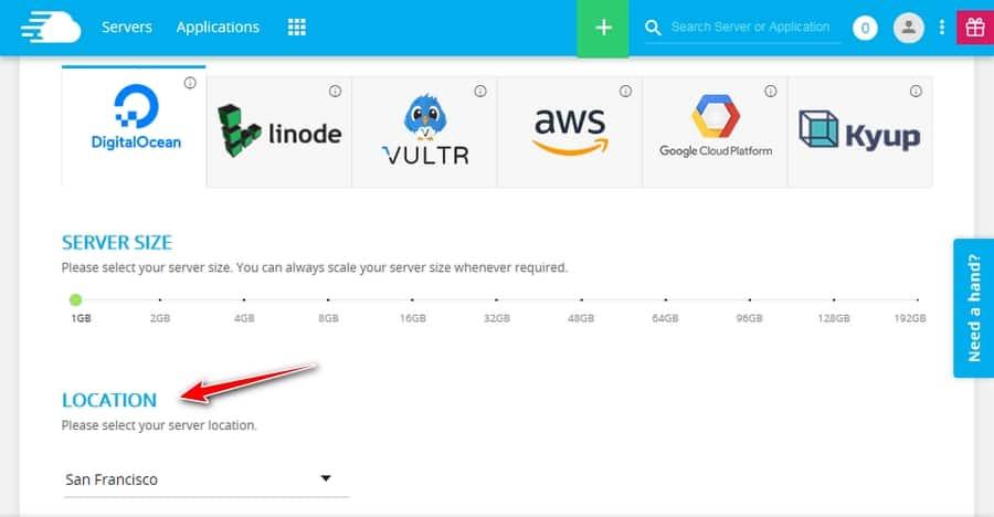 Configurar servidor en Cloudways - Localidad de servidor