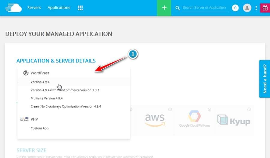 Configurar servidor en Cloudways - Seleccionar aplicacion