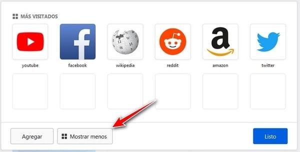 Mas Visitados de Mozilla firefox mostrar menos