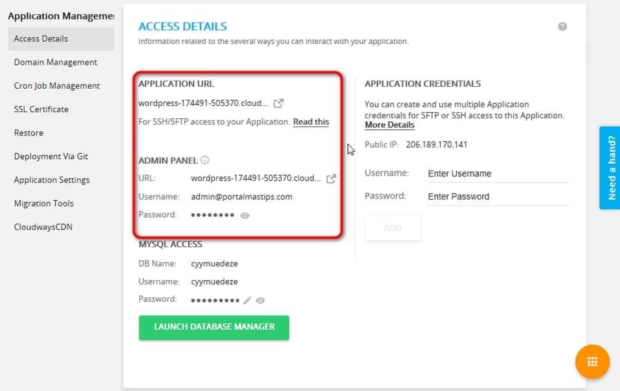Datos de acceso a la aplicacion alojada en CloudWays