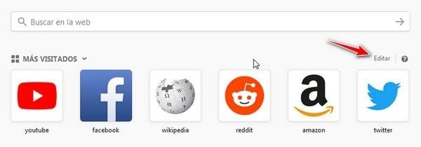 Mas Visitados de Mozilla firefox
