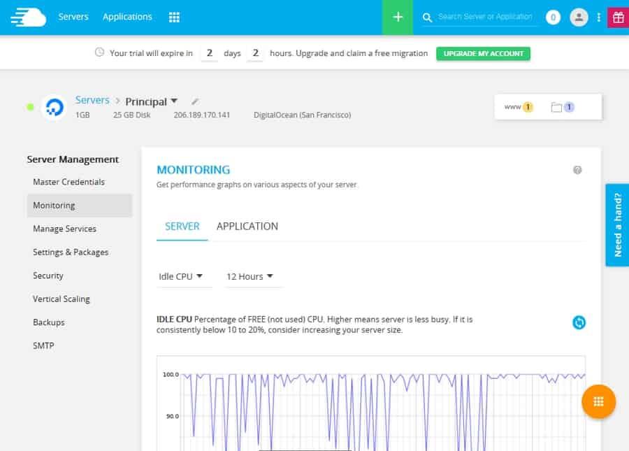 Opciones de administracion de servidor de CloudWays - Monitoreo