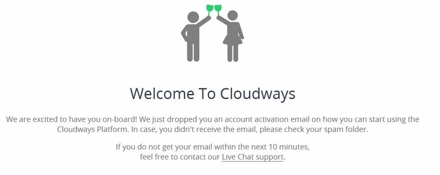 Pantalla de bienvenida a Cloudways
