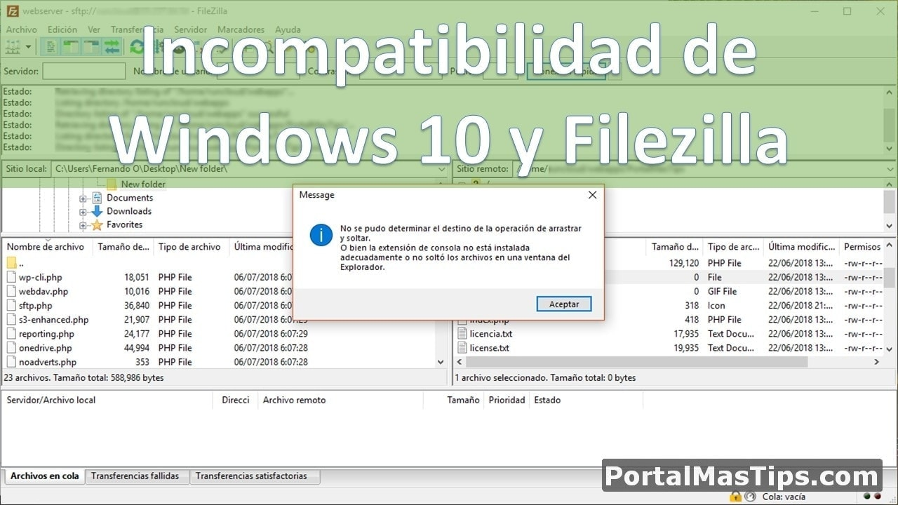 Error con FileZilla al arrastrar y soltar archivos en Windows 10 13